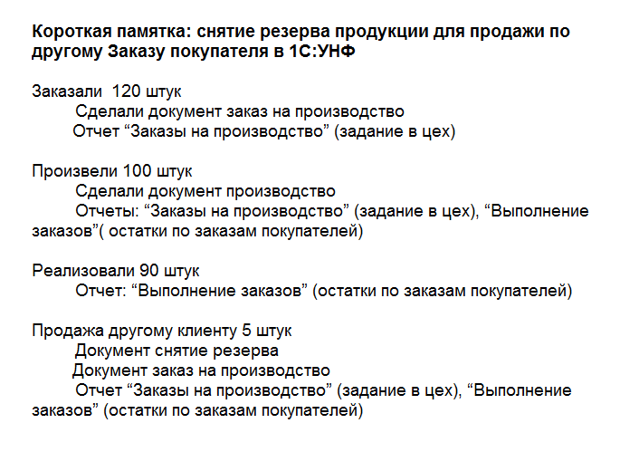 Как снять резерв по продукции в 1С:УНФ
